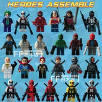 Wholesale 23pcs DC Marvel Avengers Super Heroes Minifigures Black Mask Joker and Deadpool Yellow Jacket Classic Action Figures Children Gift Toys