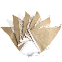 Wholesale 10Pcs M burlap linen lace bunting triangle flags pennant for party wedding garland decoration product supply