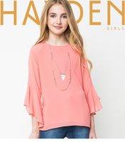 Cheap 2016 autumn new Big Girls shirts children falbala flare Sleeve chiffon shirts kids princess tops Girls blouses 7-14T children clothing A9512