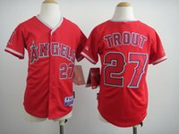 angels boy children - 2016 Kids Mike Trout Youth baseball Jersey Red Polyester Boys Los Angeles Angels Mike Trout Jersey Child White Best Quality