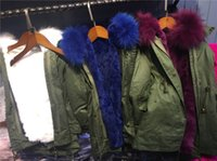 Wholesale 2016 new Autumn and Winter Warm Kids Parkas Coat Real Raccoon Fur coat Army Green hooede thick jacket for T