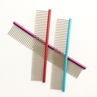 anti static cleaning brush - multicolor Colorful Pet Hair Trimmer Comb Dog Cat Grooming Dressed Hair Comb Anti Static Comb Straight row
