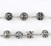 Wholesale 50 a Silver Alloy Beads DIY Big Hole Metal Beads Spacer Murano Bead Charm Fit For Pandora Charms Bracelet