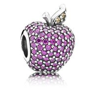 apple foods - purple apple zircon charm sterling silver European charm beads Pandora for fashion DIY Jewelr snake chain bracelet