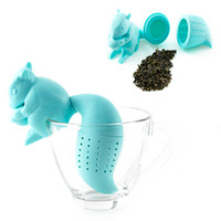 Wholesale 1 Piece Squirrel Shaped Silicone Tea Strainer Ball Finders Steepers Infuser Cute Creative Tea Infuser Filter Bags