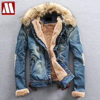 Wholesale Fall Mens Fur Collar Wool Denim Jackets With Thick Fleece Warm cowboys wears Fur Liner jacket Men s Winter Cotton Coat Asia S XXXL