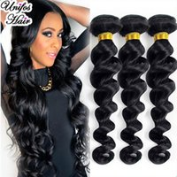 Wholesale 6A Brazilian Virgin Hair Loose Wave Bundles Unprocessed Virgin Brazilian Hair Loose Wavy Brazilian Jet Black Loose Wave Virgin Hair Weave