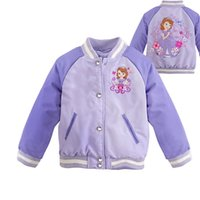 Wholesale Autumn and winter section year old children s clothing Sophia jacket plus velvet thickening girl child warm jacket purple size