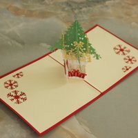 Wholesale DHL Hot D POP UP Handmade Christmas Gift Greeting Card with Christmas Tree Snow Man Decoration