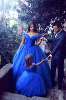 ball picks - Off the Shoulder Cinderella Prom Dresses Ball Gowns New Royal Blue with Beads Floor Length Girls Quinceanera Ball Gowns Prom Dresses