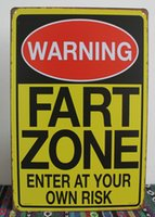 bathroom zone - 50pcs Metal Sign shabby chic WARNING SIGNS FART ZONE ENTER AT YOUR OWN RISK Vintage Signs iron Poster art Wall Decor Paintin