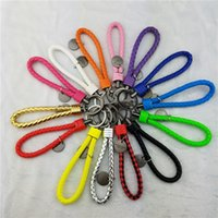 Wholesale 100 Leather Material Key String Lanyard Colorful Braided Strap Keychian Keyrings Rope Mobile Phone Strap Promotional Gift
