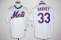 Wholesale 2016 Flexbase Stitched New York Mets DeGrom Harvey Conforto Syndergaard Piazza White Throwback Blue MLB Jersey gman