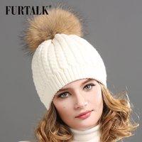 big red fox - FURTALK Real Fur Hat Big Raccoon Pom Pom Hat Cashmere Wool Fox Pom bobble hat