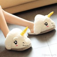 Wholesale Plush Unicorn Slippers for Grown Ups Winter Warm Indoor Home Soft Funny Shoes Aries Fluffy creative footwear