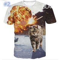 Wholesale The new summer fashion d printing cat series of men s shirts with short sleeves