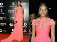 Wholesale Monique Lhuillier Sheer Lace Neck Celebrity Dresses Naomie Harris Dubai Film Festival Cap Sleeves Ruched Chiffon Evening Gown