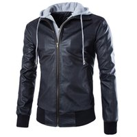 Wholesale hot selling fashion casual mens hooded Motorcycle leather coat Rib sleeve Turn down Collar mens leather jacket ZPY35