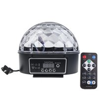 Wholesale 18W MP3 Crystal Magic Ball Led Stage Lamp KTV Disco Laser Light Party Lights Sound Control Laser Projector Music KTV