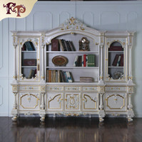 antique furniture bookcase - High end classic villa furniture solid wood frame with cracking paint study room furniture European Palace bookcase