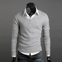 Wholesale New Arrival Fashion Mens Christmas Sweater Jumper Casual Knitted V Neck Pullover Sweaters Pull Homme