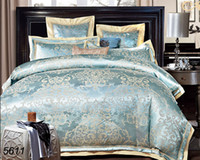 Wholesale King Sized Silk Sheet Sets - 4pcs 6pcs jacquard tribute silk 4pcs wedding bedding set king queen size silk comforter cover cotton sheet pillowcases hot 5611