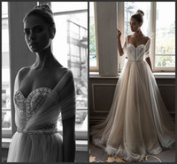 Wholesale Elihav Sasson Crystals Beach Arabic Wedding Dresses Sweetheart Pearls A line Tulle Bridal Dresses Sexy Wedding Gowns