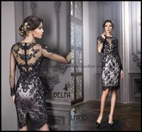 Wholesale Gorgeous Lace Sexy Sheath Knee Length Black Cocktail Party Dresses Long Sheer Sleeves Appliques Custom Made Party Prom Short High Neck