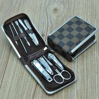 Wholesale 9 Set Professional Nail Cuticle Clippers Pedicure Manicure Cleaner Grooming Kit Case Tool Home Essential High Quality