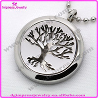 Wholesale IJP0041 Tree of Life Hypoallegenic l Surgical Stainless Steel Aromatherapy Essential Oil Diffuser Necklace Perfume Locket only pendant