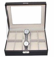 Wholesale Watch Box Grid Leather Watch Display Case Fenestration watch box Jewelry Collection Storage Organizer Box