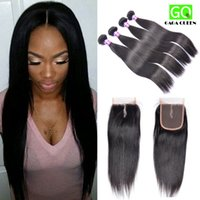 Cheap Big Sale Brazilian Straight Hair With Closure Brazilian Straight Lace Closure With Hair Bundles Silky Brazillian Straight Human Hair Weave