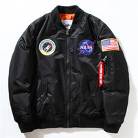 air force navy - Men Bomber Flight Pilot Jacket Coat Thin Nasa Navy Flying Jacket Military Air Force Embroidery Baseball Uniform Army Green Black Blue