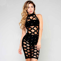 beaded casual wear - new grid hollow out sexy high neck summer beaded celebrity party dress set sleeveless bodycon vestidos black bandage dresses Club wear dress