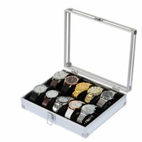aluminum jewelry display case - Slot Wrist Watch Box Vine Luxury Jewelry Watch Storage Collection Case Silver Window Watch Display Box Organizer Aluminum