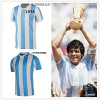 Wholesale _ argentina retro soccer jerseys home top thai AAA customzied name number Maradona soccer uniforms