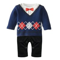 Wholesale Gentle Infants Baby Rompers Bodysuits Cotton Boys Long Sleeve Overalls Romper Suits Jacket One piece Newborn Babys Clothing Blue Gray