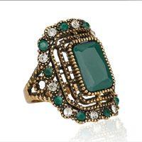 Wholesale 14pcs Bohemia Resin Imitation green red black gem Square agate Onyx ruby Emerald jade big wide surface Multilayer ring women j221