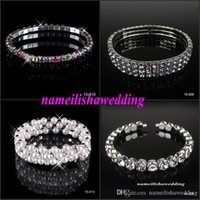 Wholesale Silver Rhinestone Cuff Bracelet - Sparkly Cheap Bridal Bracelets 2016 New 1 3 Row White Pearls Wedding Jewelry Bling Sparkly Vintage Bracelet for Party Prom Evening Women