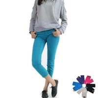 Wholesale Women Casual Trousers Slim Skinny Candy Color Tight Jeans Spring Summer Wear Cotton Zipper Pocket Stretchy Capris Pants C01