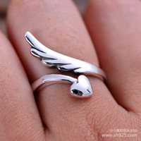 angels mailings gift - Jimei Silver Sterling Silver Jewelry Silver Angel Wings female ring opening Mini old tail ring adjustable bag mail