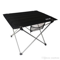 aluminium fabric - Portable Camping Table Outdoor Golden Aluminium Alloy Foldable Folding Black Oxford Fabric Table For Hiking Picnic
