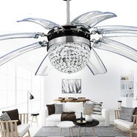Wholesale 42 inch Stealth LED fan lights with crystal wings off Pendant lamp will hide modern minimalist Chandeliers for restaurant dining cafe