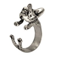 Wholesale Retial Animal French Bulldog Ring Animal Ring Adjustable French Bulldog Wrap Rings Dog Ring women Midi Jewelry