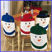 Wholesale DHL Shipping Snowman Christmas Kitchen Chair Covers For Festival Indoor Decoration