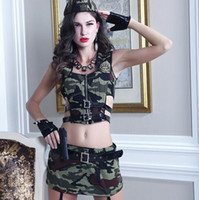 Wholesale 2016 US Army Costumes Cosplay Sexy women Sheer camouflage uniform Uniform tempation sets Halloween Party Clubwear hats