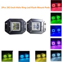 Wholesale 2pcs W x3 Inch Remote Controller Flush Mount LED Work Light with RGB Halo Ring for Off Road WD x4 Truck SUV ATV