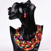 anniversary gemstones - Handmake Beads Statement Necklaces Earrings Women Lady Colorful Gemstone Chokers Party High Quality Jewelry Set Chokers Valentine Gift