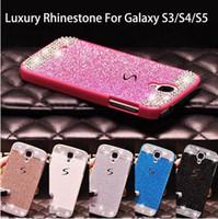 achat en gros de retour clair de galaxie-Glitter poudre strass bling diamant de luxe cristal clair dur couverture arrière pour Samsung Galaxy S3 S5 S4 Cover Case Sparkling