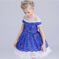 beaded boat neck - 2016 Summer Childrens High Grade Embroidered Ball Gown Dress Girls American Style Short Sleeve Beaded Collar Princess Full Dress